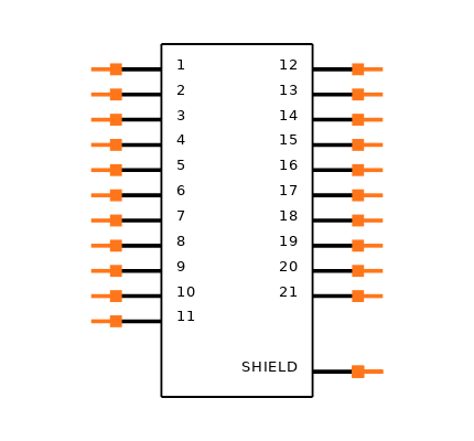 MDM-21SCBRP Symbol